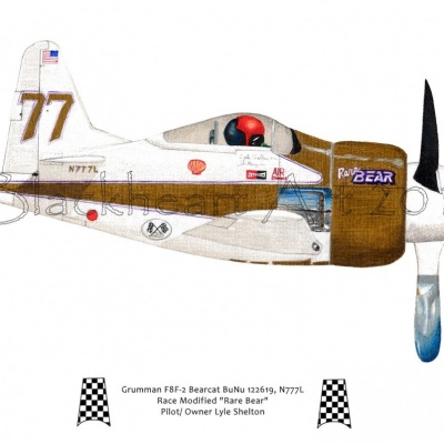 "Grumman F8F-2 ""Rare Bear"" color pencil"