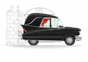 Black Hearse with Gate