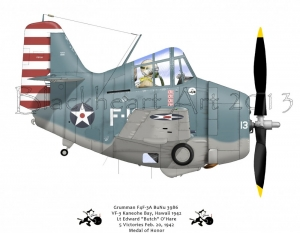 VF-3 Grumman F4F  Kaneohe Bay, Hawaii