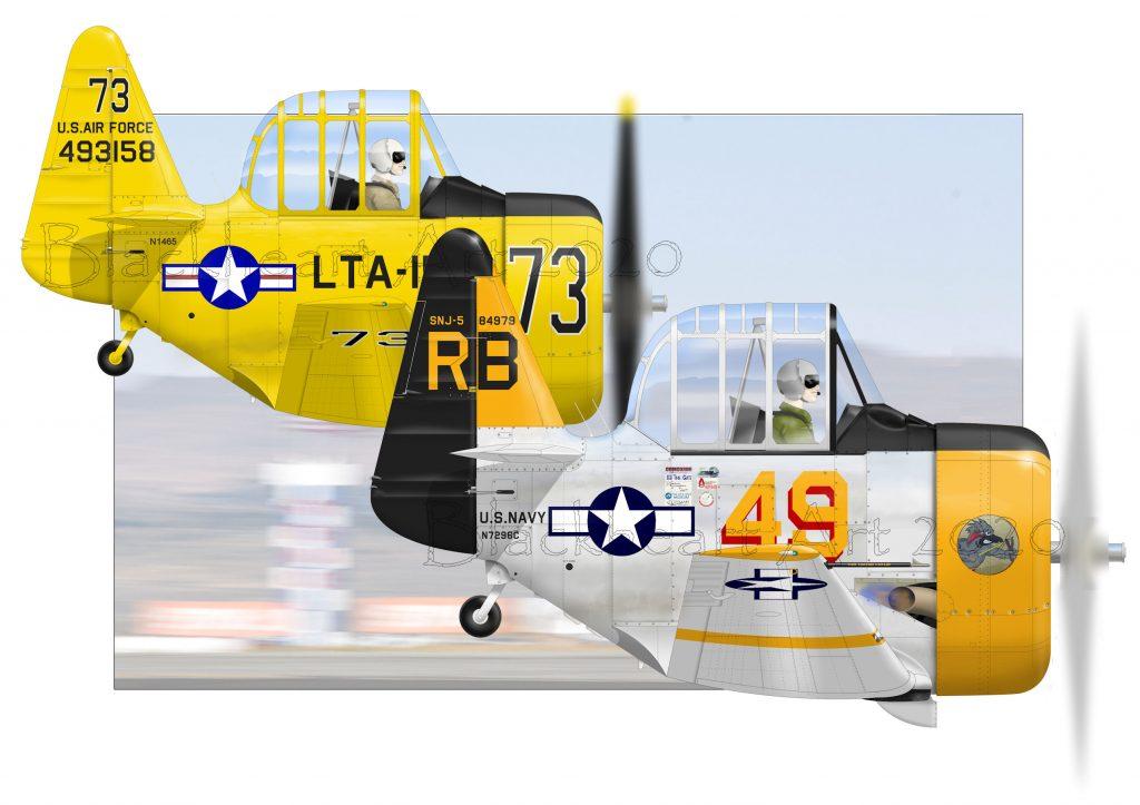 Air Racing, T6 Class Reno Air races, Drag Racing. Miss Ellaneous and Miss Humboldt Hunny.