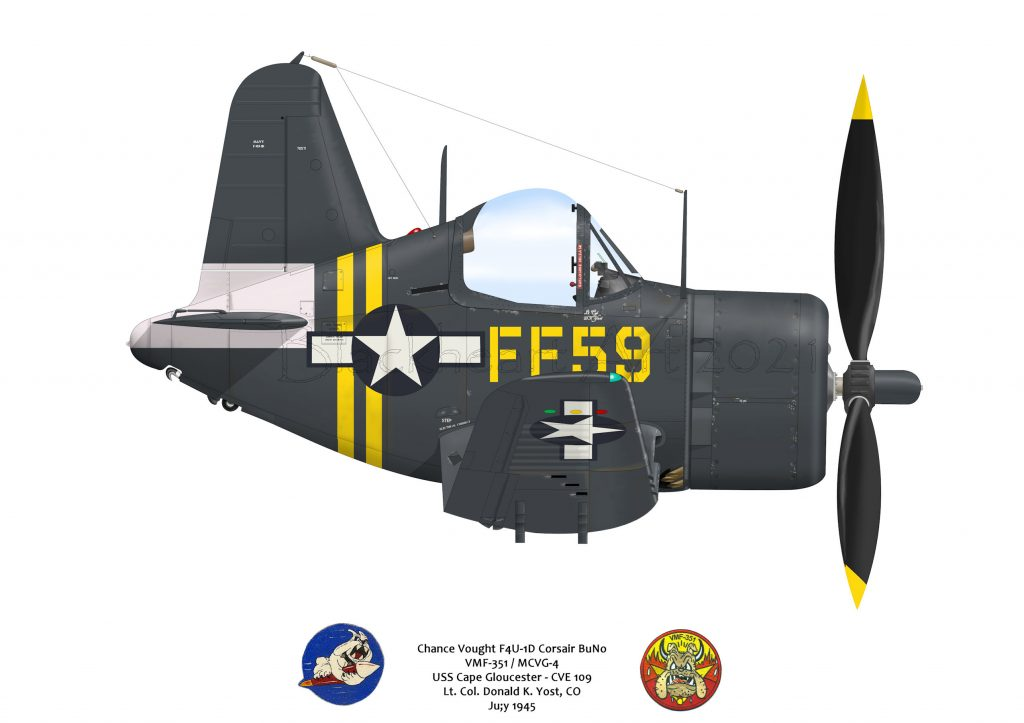 Ly. Col D. Yost F4U Corsair of VFM-351 off the Cape Gloucester, CVE-109